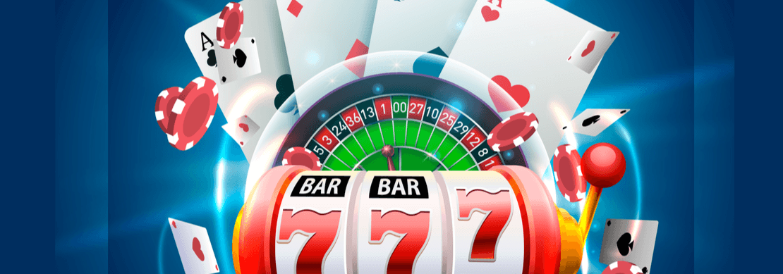 slot reels and a roulette wheel with cards flying around